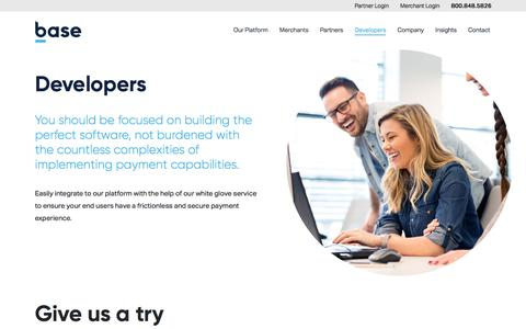 Screenshot of Developers Page basecommerce.com - Payment Prebuilt SDKs for Software Developers | Base - captured Feb. 21, 2020