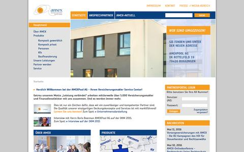 Screenshot of Home Page amex-online.de - AMEXPool AG Maklerpool - Startseite - captured June 6, 2016
