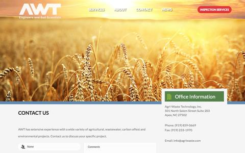 Screenshot of Contact Page agriwaste.com - Contact - Agri-Waste Technology - captured Feb. 5, 2016