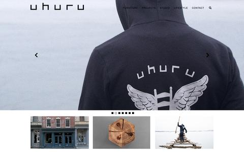 Screenshot of Home Page uhurudesign.com - UHURU | Design, Craft and Style in Handmade Furniture - captured Aug. 2, 2015