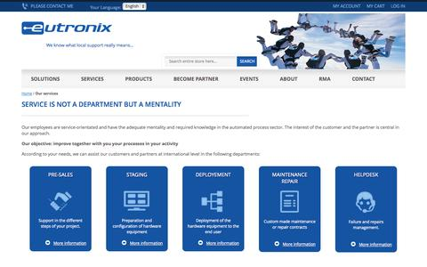 Screenshot of Services Page eutronix.eu - Our services - Eutronix - captured Sept. 27, 2014