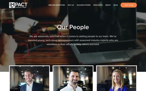 Screenshot of Team Page impactbnd.com - Our Inbound Marketing Team | IMPACT - captured March 30, 2016
