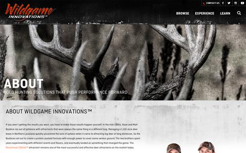 Screenshot of About Page wildgameinnovations.com - About Us   Wildgame Innovations   History - captured Oct. 18, 2018