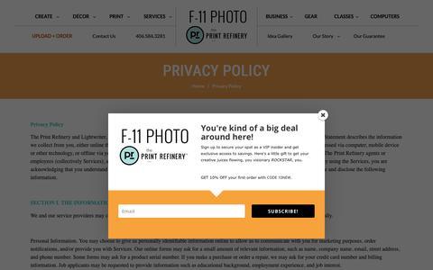 Screenshot of Privacy Page f11photo.com - Privacy Policy - The Print Refinery - Bozeman - captured Nov. 12, 2018