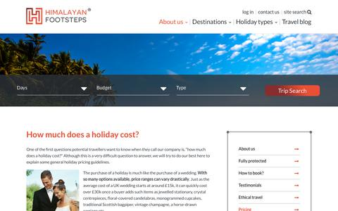 Screenshot of Pricing Page himalayanfootsteps.com - Holiday Pricing and Cost Guide by Himalayan Footsteps® - captured July 20, 2018