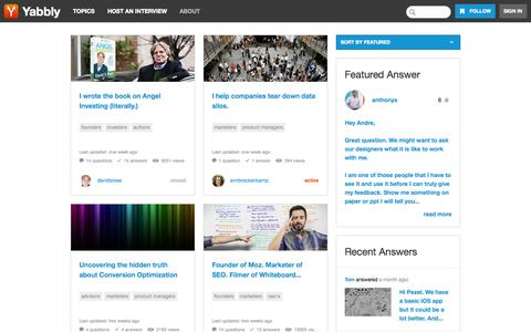 Screenshot of Home Page yabbly.com - Social Interviews with Interesting People - captured Sept. 17, 2014