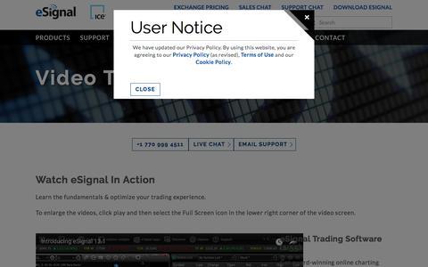 Screenshot of Support Page esignal.com - eSignal | Video Tutorials - captured Aug. 7, 2018