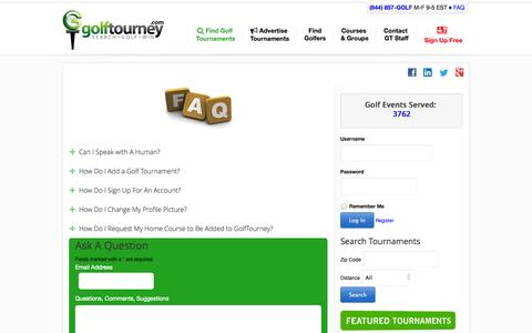 Screenshot of FAQ Page golftourney.com - FAQ's GolfTourney.com   Find Golf Tournaments, Advertise Golf Tournaments, Register for a Tourney, Social Interaction with Other Golfers - captured Sept. 23, 2014