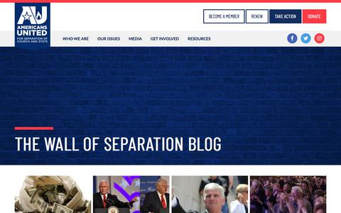 Screenshot of Blog au.org - The Wall of Separation Blog | Americans United for Separation of Church and State - captured Sept. 25, 2018