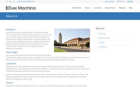 Screenshot of About Page lexmachina.com - About Us | Lex Machina - captured Sept. 13, 2014