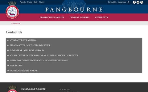 Screenshot of Contact Page pangbourne.com - Contact Us - Pangbourne College - captured July 15, 2018