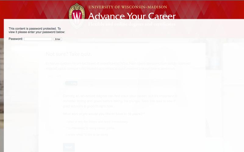 Quiz landing page (one panel) | Advance Your Career