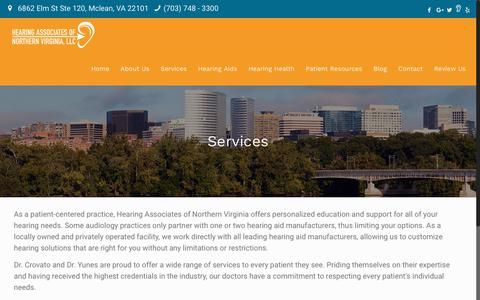 Screenshot of Services Page hearingassociatesofnova.com - Services | Hearing Associates of Northern Virginia - captured Sept. 28, 2018
