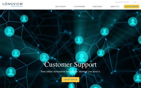 Screenshot of Support Page tidemark.com - Support | Longview - captured April 16, 2018