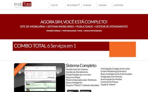 Screenshot of Home Page imobtotal.com.br - Sites para Imobiliárias e  Sistemas para Imobiliárias e Corretores - captured Jan. 26, 2015
