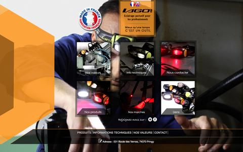 Screenshot of Home Page lagolight.com - Lagolight - Lampe frontale led puissante Lago - captured Dec. 6, 2015