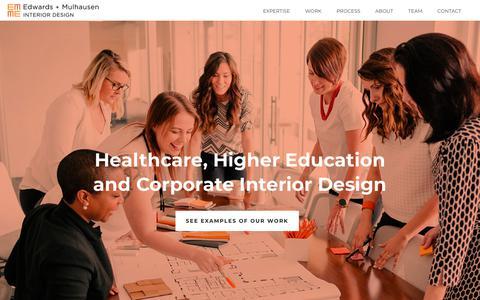 Screenshot of Home Page edwardsmulhausen.com - Interior Design in Austin Texas - Edwards + Mulhausen - captured Sept. 27, 2018