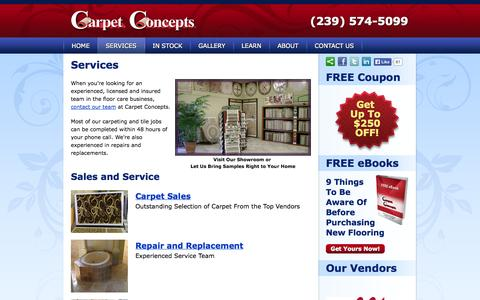 Screenshot of Services Page carpetconceptsfl.com - Services -  Sales, Repair, Replacement and Installation - Carpet Concepts (239) 574-5099 - captured Oct. 2, 2014