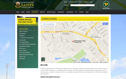 Screenshot of Maps & Directions Page northamptonsaints.co.uk - Northampton Saints | Rugby | Official Site : Home | News, features & General Information > Matchday > Directions - captured Nov. 3, 2014