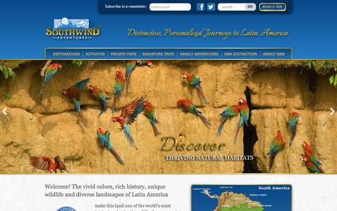 Screenshot of Home Page southwindadventures.com - Latin America Adventures | Family Travel and Small Group Tours - captured Feb. 25, 2016
