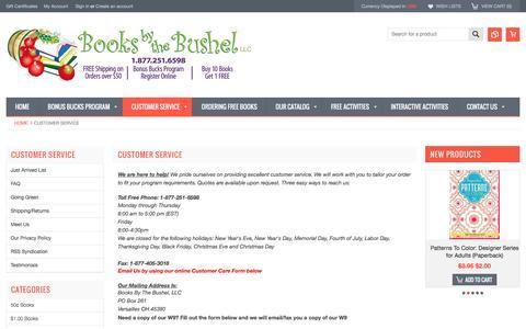 Screenshot of Support Page booksbythebushel.com - Customer Service - captured July 30, 2016