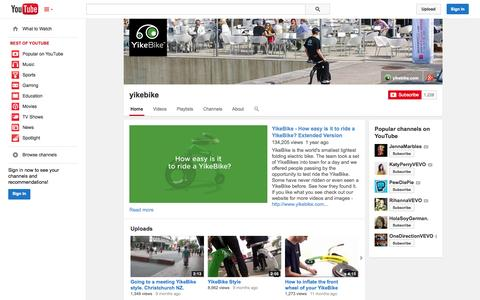 Screenshot of YouTube Page youtube.com - yikebike  - YouTube - captured Nov. 1, 2014