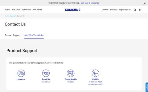 Screenshot of Contact Page samsung.com - Contact Samsung Support - captured Aug. 19, 2016