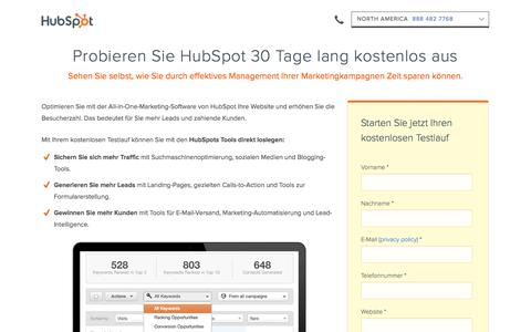 Screenshot of Trial Page hubspot.de - HubSpot 30 tägiger Testlauf | Content Marketing Software - captured Nov. 4, 2014