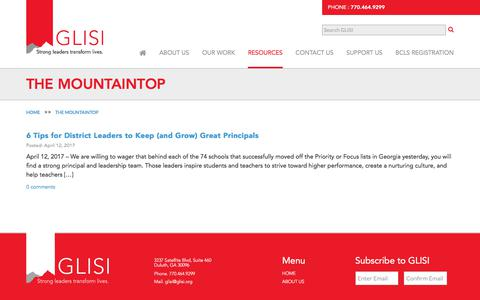 Screenshot of Blog glisi.org - The Mountaintop | GLISI - captured July 11, 2017