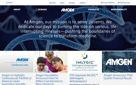 Screenshot of Home Page amgen.com - Amgen - captured Nov. 3, 2015