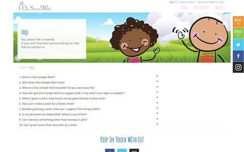 Screenshot of FAQ Page onesimplewish.org - One Simple Wish - captured June 12, 2017