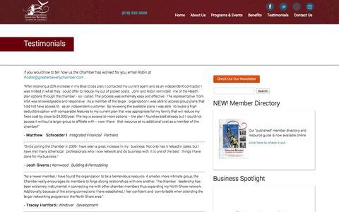Screenshot of Testimonials Page greaterbeverlychamber.com - Greater Beverly Chamber of Commerce | Testimonials - captured Oct. 5, 2014