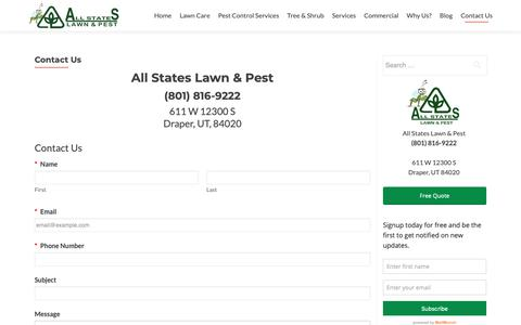 Screenshot of Contact Page thegreenpest.com - Contact Us | All States Lawn and Pest - captured Oct. 3, 2018