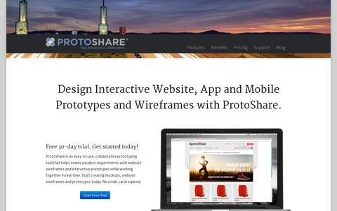 Screenshot of Home Page protoshare.com - Mockups & Website Wireframes | ProtoShare - captured July 11, 2014