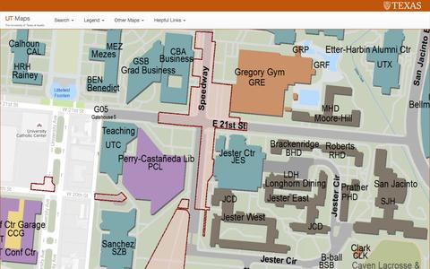 Screenshot of Maps & Directions Page utexas.edu - Maps | The University of Texas at Austin - captured Aug. 19, 2016