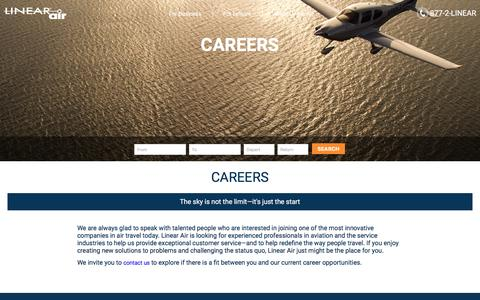 Screenshot of Jobs Page linearair.com - Careers | Linear Air - captured July 15, 2016
