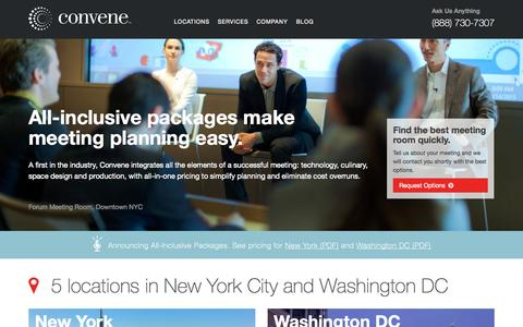 Screenshot of Home Page convene.com - Convene | Meeting Rooms & Conference Centers in NYC & DC - captured Sept. 13, 2014