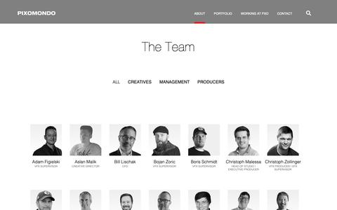 Screenshot of Team Page pixomondo.com - The Team | Pixomondo - captured Nov. 4, 2018