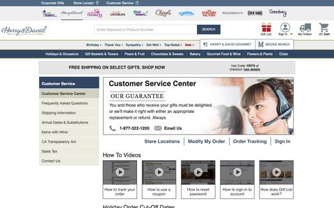 Screenshot of Support Page harryanddavid.com - 1-877-322-1200 | Customer Service | Harry & David - captured May 30, 2019
