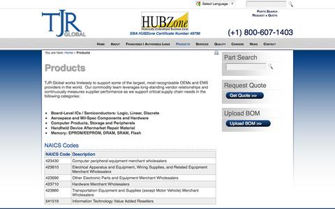 Screenshot of Products Page tjrglobal.com - TJR Global Products - captured Oct. 9, 2014
