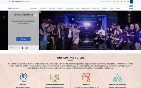 Screenshot of Jobs Page tatamotors.com - Overview | Tata Motors Limited - captured Oct. 16, 2017