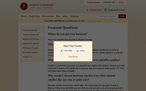 Screenshot of FAQ Page purebeeswaxcandles.com - FAQ - captured Sept. 29, 2018
