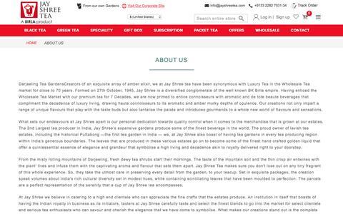 Screenshot of About Page jayshreetea.com - About Us - captured Nov. 26, 2016