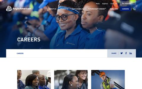 Screenshot of Jobs Page angloamerican.com - Careers – Anglo American - captured July 13, 2019
