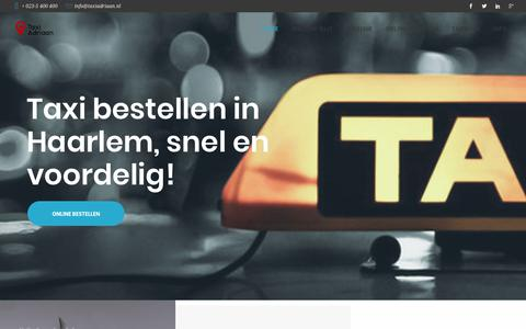Screenshot of Home Page taxiadriaan.nl - Taxi Adriaan! Taxi Haarlem 023 - 5 400 400. - captured March 2, 2018