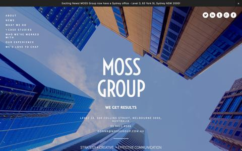 Screenshot of Home Page mossgroup.com.au - MOSS Group - captured Oct. 4, 2014