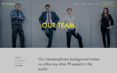 Screenshot of Team Page prhacker.com - The Team — PR Hacker - captured Oct. 28, 2014