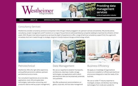 Screenshot of Services Page westheimerenergy.com - Consultancy  | Westheimer Energy - captured Oct. 9, 2014