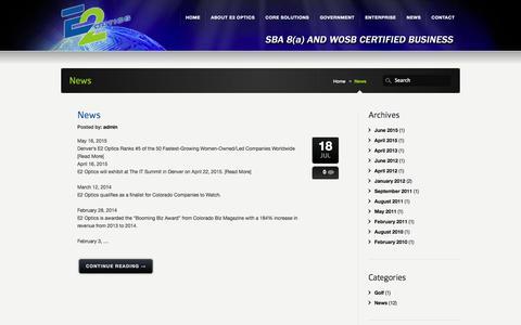 Screenshot of Press Page e2optics.com - News - E2 Optics E2 Optics - captured Nov. 20, 2015