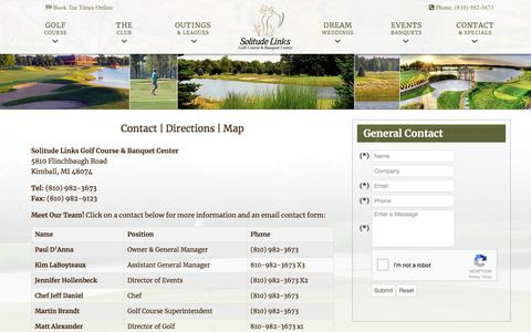 Screenshot of Contact Page Maps & Directions Page solitudelinksgolf.com - Solitude Links Golf Course & Banquet Center | Kimball, MI - Contact & Directions - captured Dec. 11, 2017